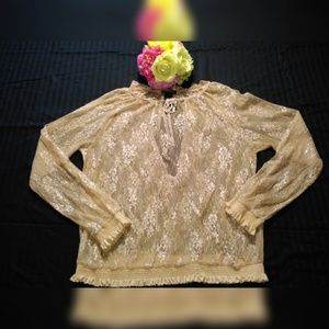LANE BRYANT LACE GOLD & SILVER  LACE BLOUSE